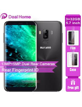 Original Bluboo S8 5.7 Inch Hd+ 18:9 Aspect Ratio Mobile Phone 13 Mp Dual Rear Cameras Mt6750 T Octa Core 3 Gb+32 Gb Fingerprint Id by Bluboo