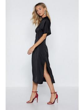 High Neckline Feeling Fine Satin Dress by Nasty Gal