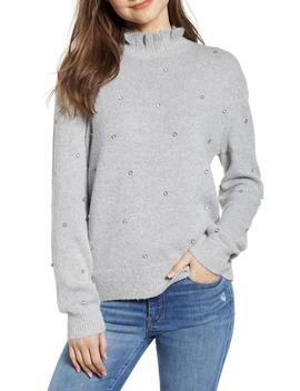 Embellished Ruffle Neck Sweater by Hinge