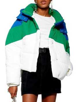 Colourblock Puffer Jacket by Topshop