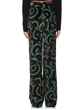 Fern Print Velvet Straight Trousers by Dries Van Noten