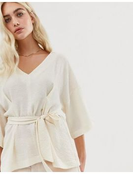 Asos Design Textured Oversized Top With V Neck And Tie Waist by Asos Design