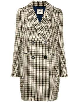 Checked Double Breasted Coat by Semicouture