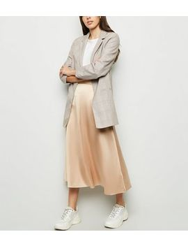 Stone Satin Midi Skirt by New Look