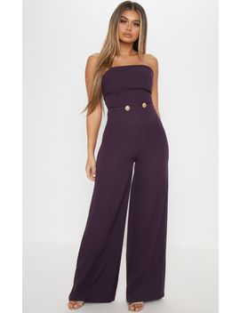 Plum Woven Button Detail Jumpsuit by Prettylittlething