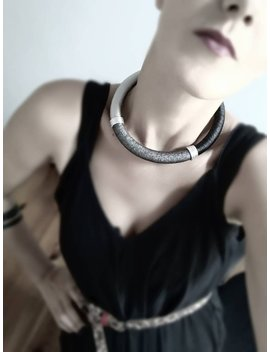 African Jewelry, Coil Choker, Bib Necklace,  Handmade Tribal Jewelry, Gray, Black, Silver, Sparkl, Personilized Unique Jewelry Handmade by Etsy