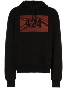 Black Logo Print Cotton Hoodie by 424