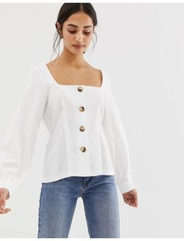 Asos Design Square Neck Button Through Top With Pleat Detail by Asos Design
