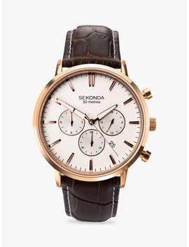 Sekonda 1668.27 Men's Chronograph Date Leather Strap Watch, Brown/White by Sekonda