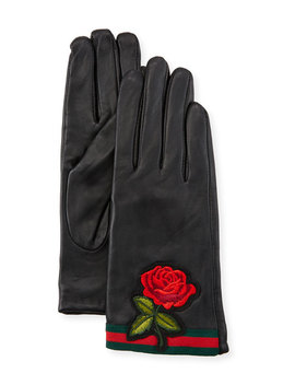 Rose Embroidered Leather Gloves by Neiman Marcus