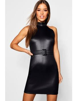 Petite High Neck Pu Buckle Detail Bodycon Dress by Boohoo