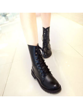 Women Punk Mid Culf Boots Military Black Lace Up Combat Low Heel Martin Shoes by Unbranded/Generic
