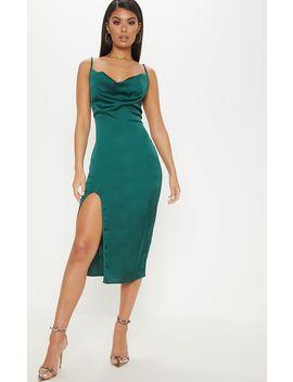 Emerald Green Strappy Satin Cowl Midi Dress by Prettylittlething