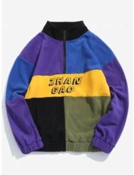 Zaful Color Block Half Zip Pullover Flocking Sweatshirt   Multi A M by Zaful