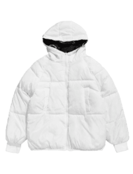 Cartoon Graphic Reversible Puffer Jacket   White S by Zaful