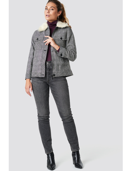 Checkered Fur Detail Jacket by Trendyol