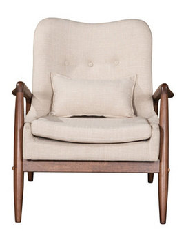 Bully Lounge Chair & Ottoman Beige by Zuo