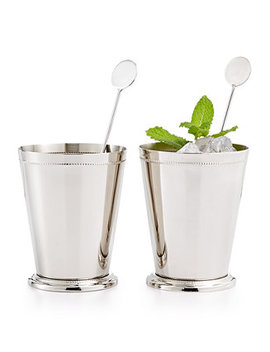 Set Of 2 Pewter Mint Julep Glasses, Created For Macy's by Martha Stewart Collection