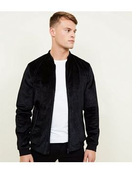 Black Paisley Velvet Bomber Jacket by New Look