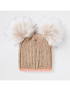 Beige Faux Fur Double Pom Pom Beanie Hat by River Island