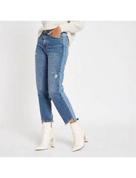 Mid Blue Ri Ripped Hem Straight Leg Jeans by River Island