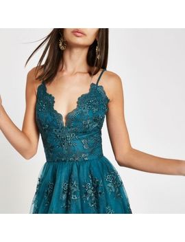 Chi Chi London Green Lace Floral Prom Dress by River Island
