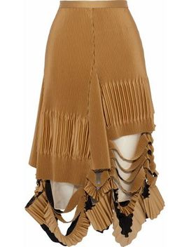 Distressed Plissé Satin Midi Skirt by Maison Margiela