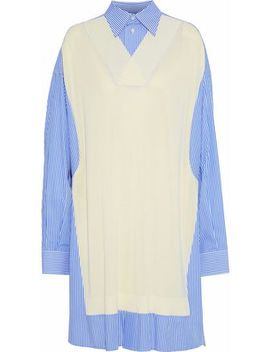 Knitted And Striped Cotton Blend Poplin Shirt Dress by Maison Margiela