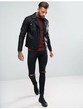 New Look – Svart Bikerjacka Med Dragkedja by Asos