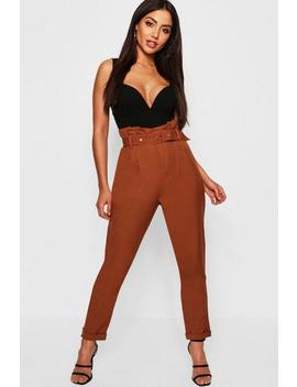 Paperbag Belted Woven Slim Fit Trousers by Boohoo