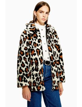 Leopard Print Borg Zip Up Jacket by Topshop