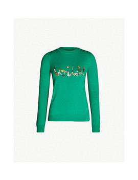 'Voila' Embellished Wool And Cashmere Blend Sweater by Karen Millen