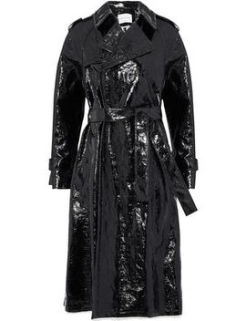 Double Breasted Crinkled Coated Cotton Blend Trench Coat by Sonia Rykiel
