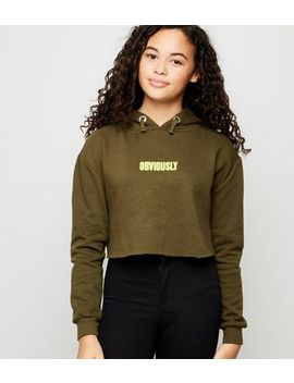 Girls Khaki Obviously Neon Slogan Hoodie by New Look