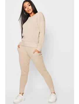 Crew Neck Heavy Knitted Lounge Set by Boohoo