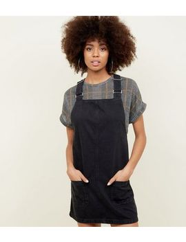Black Buckle Denim Pinafore Dress by New Look