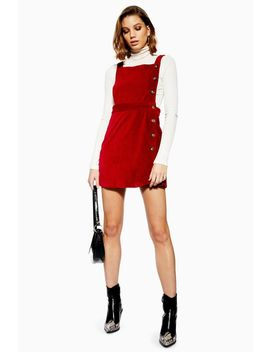 Petite Button Corduroy Pinafore Dress by Topshop