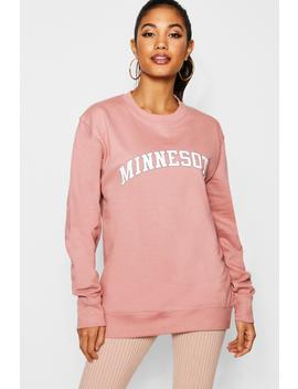 Minnesota Slogan Sweat by Boohoo