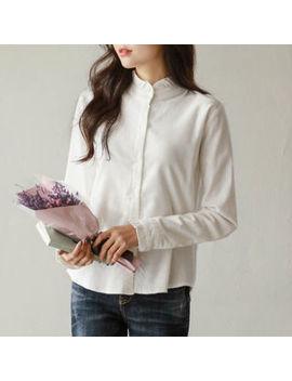 Justone   Mandarin Collar Frill Trim Flannel Shirt by Justone
