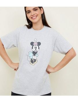 Grey Marl Minnie Mouse Oversized Disney T Shirt by New Look