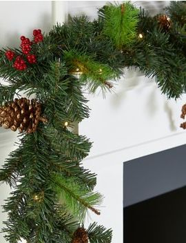 6 Ft Lit Winterberry Garland by Marks & Spencer