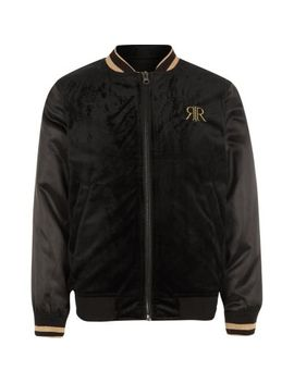 Boys Black Embroidered Tipped Bomber Jacket by River Island