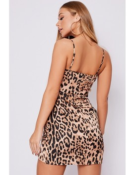 Billie Faiers Brown Leopard Print Ruched Strappy Mini Dress by In The Style
