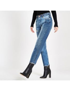 Mid Blue Block Slim Fit Denim Jeans by River Island