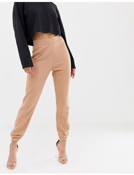 Missguided – Hoch Geschnittene Jogginghose In Camel by Asos