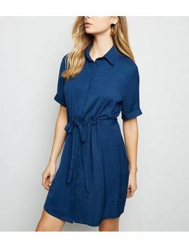 Blue Twill Drawstring Waist Shirt Dress by New Look