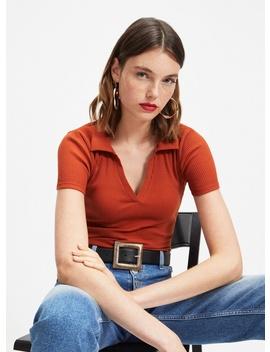 Rust V Neck Collar Bodysuit by Miss Selfridge