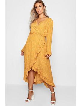 Plus Wrap Spot Midi Dress by Boohoo