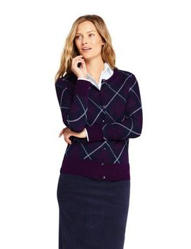 Women's Supima Cotton Plaid Cardigan Sweater by Lands' End