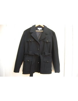 Utility Pea Coat Black Belted Tie Front Wool Coat Blazer Jacket by Etsy